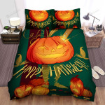 Happy Halloween With Cartoon Jack-O-Lantern Bed Sheets Spread Duvet Cover Bedding Sets