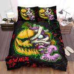 Halloween Jack-O-Lantern & Purple Devil Split Face Artwork Bed Sheets Spread Duvet Cover Bedding Sets
