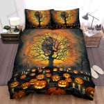 Halloween Jack-O-Lantern On The Ground With Candles Bed Sheets Spread Duvet Cover Bedding Sets