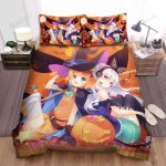 Halloween, Witch, Witch In Orange Dress Halloween Bed Sheets Spread Duvet Cover Bedding Sets
