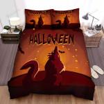 Halloween Werewolf And Bats Minimal Illustration Bed Sheets Spread Duvet Cover Bedding Sets