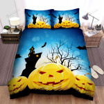Halloween Jack-O-Lantern With Bats And Castle Bed Sheets Spread Duvet Cover Bedding Sets