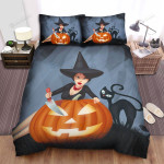 Halloween, Witch, Making Face For Pumpkin Bed Sheets Spread Duvet Cover Bedding Sets
