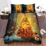A Small Figure Of Santa Claus On The Christmas Tree Bed Sheets Spread Duvet Cover Bedding Sets
