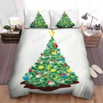 Completed Decoration Christmas Tree Bed Sheets Spread Duvet Cover Bedding Sets