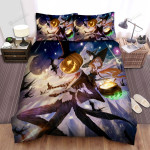 Halloween Jack-O-Lantern With Little Witch Girl Anime Art Bed Sheets Spread Duvet Cover Bedding Sets