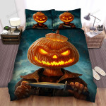 Halloween Jack-O-Lantern With A Sharp Knife Bed Sheets Spread Duvet Cover Bedding Sets