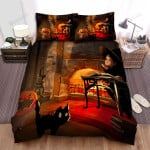 Halloween Jack-O-Lantern With A Witch And Black Cat Cozy Artwork Bed Sheets Spread Duvet Cover Bedding Sets