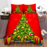Red Snowflakes Falling Beside Christmas Tree Bed Sheets Spread Duvet Cover Bedding Sets