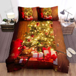 Teddy Bear Under The Christmas Tree Bed Sheets Spread Duvet Cover Bedding Sets