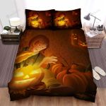 Halloween Child With Glowing Jack-O-Lantern Bed Sheets Spread Duvet Cover Bedding Sets