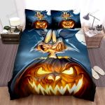 Halloween Jack-O-Lantern With Frightening Cat Bed Sheets Spread Duvet Cover Bedding Sets