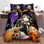 Halloween, Witch, Nibbling Her Candy On A Pumpkin Bed Sheets Spread Duvet Cover Bedding Sets