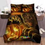 Halloween Werewolf Taking Candies From Jack-O-Lantern Bed Sheets Spread Duvet Cover Bedding Sets