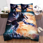 Halloween Werewolf With Electric Power Art Painting Bed Sheets Spread Duvet Cover Bedding Sets