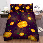 Halloween Jack-O-Lantern And Spider Nets Seamless Pattern Bed Sheets Spread Duvet Cover Bedding Sets