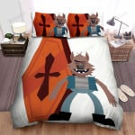 Halloween Werewolf And The Coffin Illustration Bed Sheets Spread Duvet Cover Bedding Sets