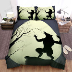 Halloween Werewolf Silhouette In The Moon Background Bed Sheets Spread Duvet Cover Bedding Sets