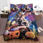 Halloween, Witch, Watching Firework Bed Sheets Spread Duvet Cover Bedding Sets