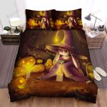 Halloween, Witch, Bunny Witch Bed Sheets Spread Duvet Cover Bedding Sets