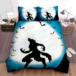 Halloween Werewolf And Bats In Full Moon Night Bed Sheets Spread Duvet Cover Bedding Sets