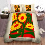 Sunflower Red Background Yellow Flowers Bed Sheets Spread Comforter Duvet Cover Bedding Sets