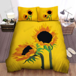 Sunflower Yellow Background Art Bed Sheets Spread Comforter Duvet Cover Bedding Sets