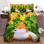 Sunflower Shiba Inu Dog Orange Bed Sheets Spread Comforter Duvet Cover Bedding Sets