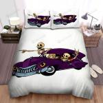 Halloween Skeletons In Purple Car Bed Sheets Spread Duvet Cover Bedding Sets