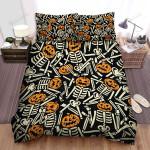 Halloween Skeletons In Jack O Lantern Mask Seamless Pattern Bed Sheets Spread Duvet Cover Bedding Sets
