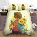 Sunflower Girl Backpack Flowers Bed Sheets Spread Comforter Duvet Cover Bedding Sets