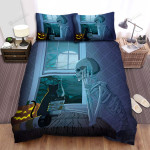 Halloween Skeleton Lonely Night Bed Sheets Spread Duvet Cover Bedding Sets