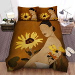 Sunflower And Woman Art Bed Sheets Spread Comforter Duvet Cover Bedding Sets