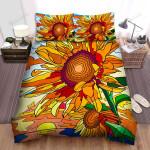Sunflower Sunset Art Bed Sheets Spread Comforter Duvet Cover Bedding Sets