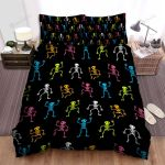 Halloween Colorful Skeleton Seamless Pattern Bed Sheets Spread Duvet Cover Bedding Sets