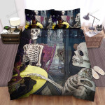 Halloween Skeleton On Dining Table Bed Sheets Spread Duvet Cover Bedding Sets