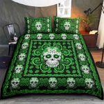 Green Skull Bed Sheets Bedspread Duvet Cover Bedding Set