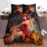 Halloween, Witch, Orange Witch Black Crow Bed Sheets Spread Duvet Cover Bedding Sets