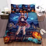 Halloween, Witch, Happy Halloween Pumpkin Witch Bed Sheets Spread Duvet Cover Bedding Sets