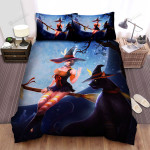 Halloween, Witch, Black Cat Of Orange Witch Bed Sheets Spread Duvet Cover Bedding Sets
