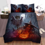 Halloween, Witch, Giant Cat Of The Witch Bed Sheets Spread Duvet Cover Bedding Sets