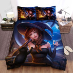 Halloween, Witch, Playing With Cat Bed Sheets Spread Duvet Cover Bedding Sets