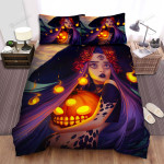 Halloween, Witch, 3 Eyes Witch Bed Sheets Spread Duvet Cover Bedding Sets