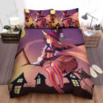 Halloween, Witch, Travelling On Her Broom Bed Sheets Spread Duvet Cover Bedding Sets