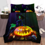 Halloween, Witch, She Has Green Skin Bed Sheets Spread Duvet Cover Bedding Sets