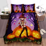 Halloween, Witch, Sitting On The Pumpkin Bed Sheets Spread Duvet Cover Bedding Sets