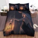 Halloween, Witch, White Witch Holding Lantern Bed Sheets Spread Duvet Cover Bedding Sets