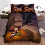 Halloween, Witch, Small Witch Black Crow Bed Sheets Spread Duvet Cover Bedding Sets