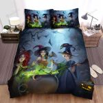 Halloween, Witch, Cooking Together Bed Sheets Spread Duvet Cover Bedding Sets
