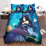 Halloween, Witch, Blue Eyes Witch Art Bed Sheets Spread Duvet Cover Bedding Sets